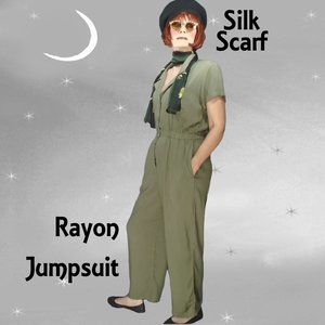Wild Fable Olive Drab Rayon Jumpsuit and Silk Scarf - 40s STYLE!